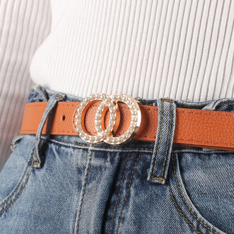 Black Leather Belt Women Waist Ceinture Femme Litchi Pattern Pearl Belt Luxury Brand Gold Buckle G Belts For Women Fashion 2020