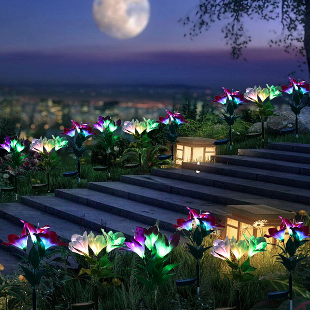 Solar Gentleman Orchid Light Led Color Light Gradient Decorative Lawn Ground Insertion Garden Lantern Fiber Optic Light