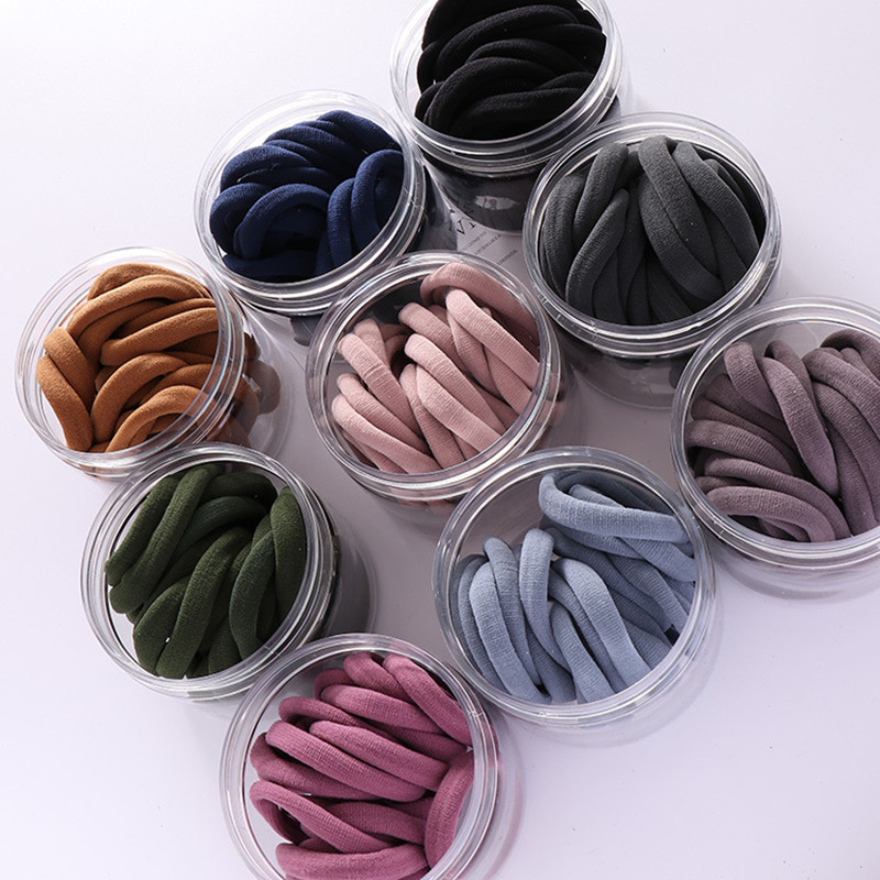 20pcs/lot New Fashion Women Solid Color Stretch Elastic Hair Bands Simple Plain Rope Bands Protect The Hair 9 Colors