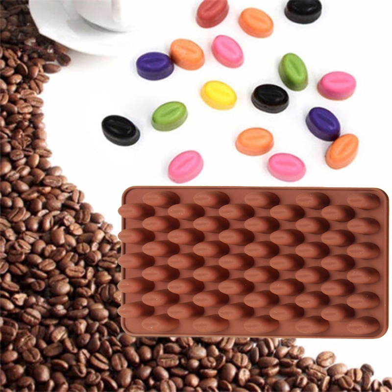 55 Mini Coffee Bean Silicone Mould Cake Chocolate Jelly Candy Soap Baking Mold image