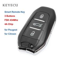 Keyecu مفتاح سيارة ذكي عن بعد ، فوب 3 أزرار, FSK 434MHz 4A رقاقة لبيجو 508 308 408 4008 301for Citroen C4L C Quatre 2017 2018