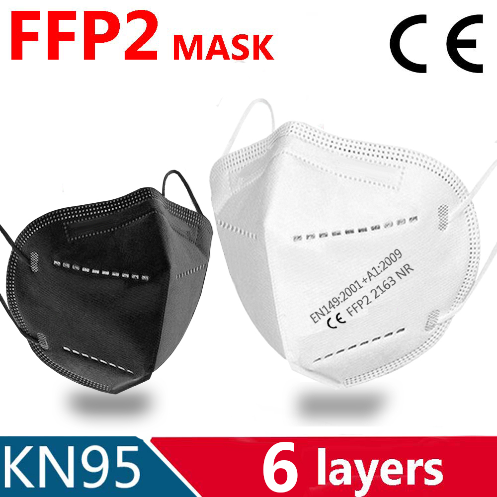 6 couches KN95 masque visage FFP2 masque bouche Maske masques de sécurité doux 95% Filtration pm2.5 masque ffp2masque anti-poussière certification CE
