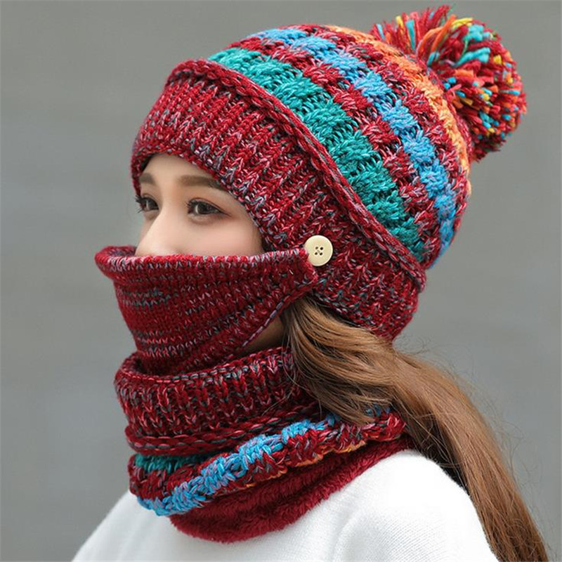 Autumn And Winter New Plus Velvet Knit Hat Bib Mask Three-Piece Riding Face Thickening Wool Hat Glove Female