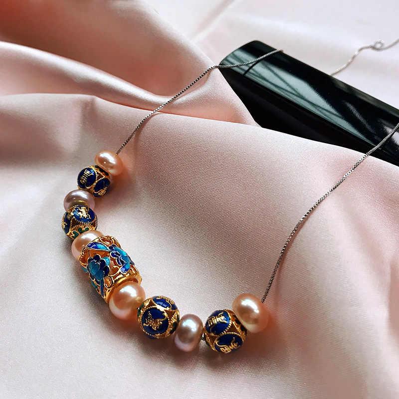 Phong Cách Châu Âu Ngọc Trai Tự Nhiên Cho Phụ Nữ AAAA Trang Sức Ngọc Trai Cao Cấp Màu Xanh Mới Phụ Kiện Với 45 Cm Dây Chuyền Bạc