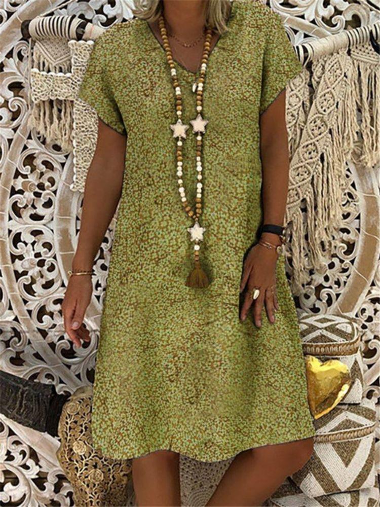 Женское платье с цветочным принтом, платье с коротким рукавом и v-образным вырезом, большие размеры, 2019