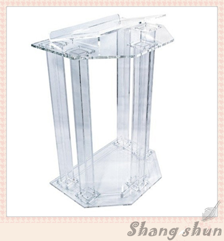 Church Acrylic Podium/Acrylic Frosted Glass Plate With Screen Printing Lectern Church Lectern