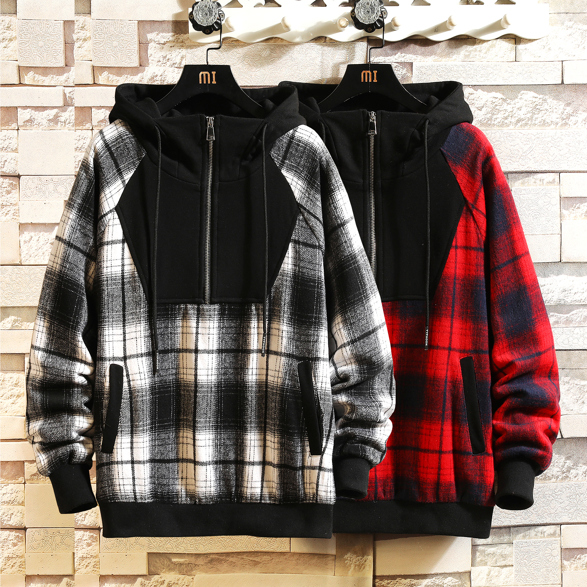 Fashion Men Hip Hop Skateboard Harajuku Long Sleeve Pullover Oversized Plaid Hoodies Sweatshirt 2020 Spring AUTUMN Clothes