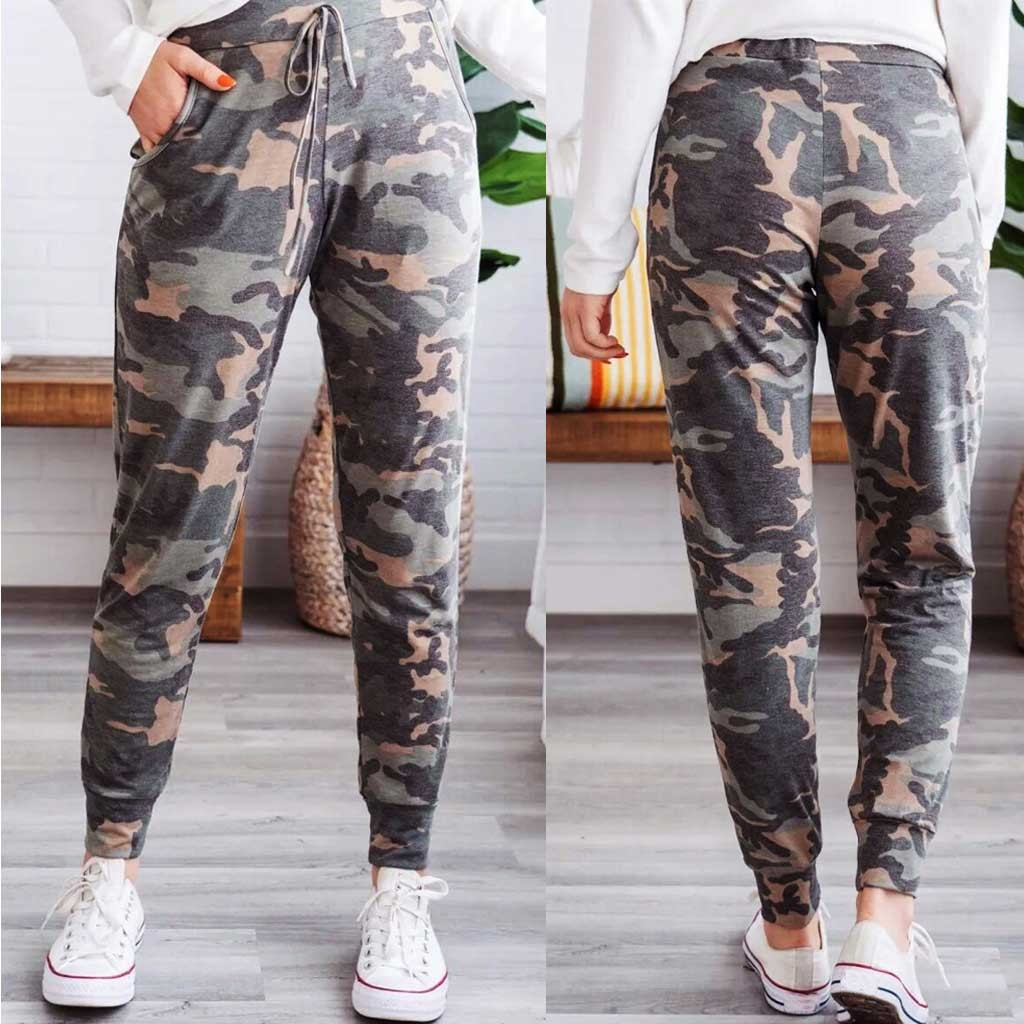 2020 Autumn Winter Women Camouflage Fleece Sweatpants Trousers Casual Thick Velvet Loose Cashmere Sweatpants Tracksuit Pants#J30