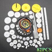82 Teile/satz Kunststoff Getriebe Paket Kit DIY Getriebe Sortiment Zubehör Set für Spielzeug Motor Auto Roboter Verschiedene Getriebe Achse Gürtel buchsen