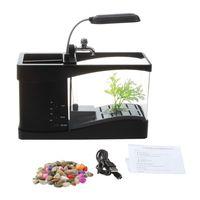 New USB Mobile Mini Electronic Desktop Fish tank Black