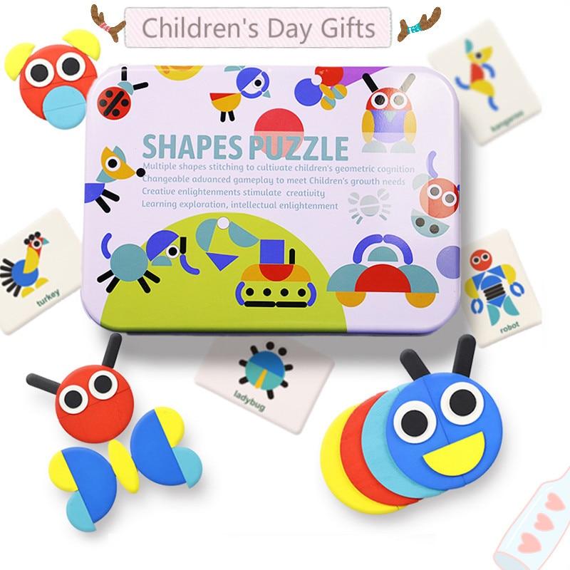 Quebra-cabeças infantil padrão animais, brinquedo educativo blocos montessori