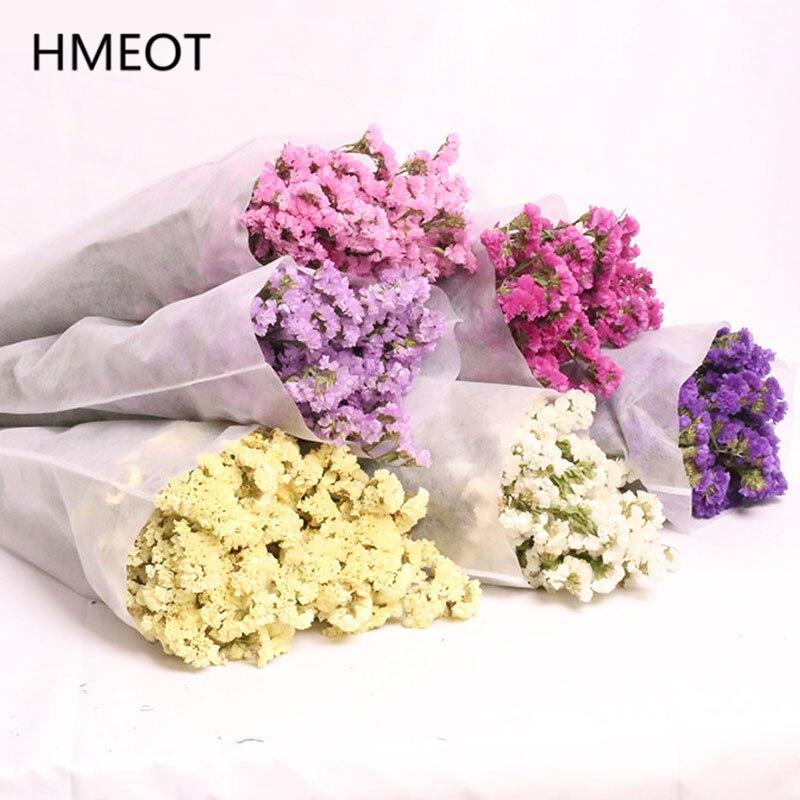 Natürliche 100% Echt Dired Blume Bouquet Hochzeit Braut Bouquet Tun Nicht Vergessen Mich Blumen Geschenke Grün Pflanzen Dekor Für Home schlafzimmer