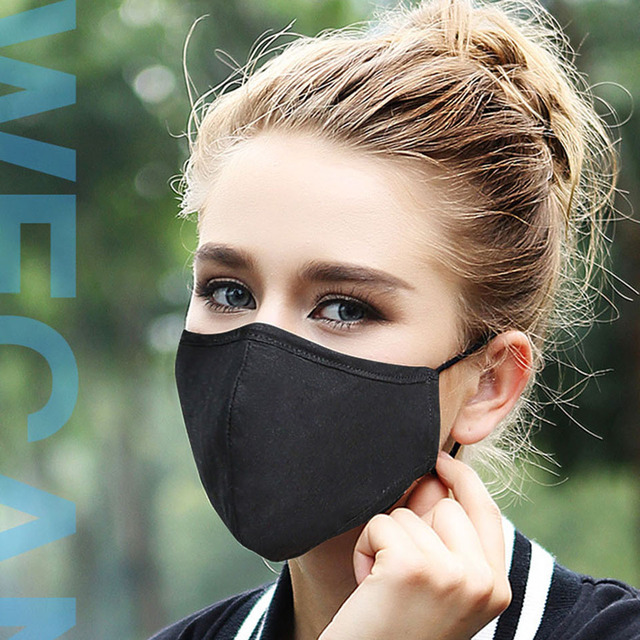 Kpop Cotton Black Mask mouth face Mask Anti PM2.5 dust Mouth Mask with 2pcs Activated Carbon Filter korean Mask Fabric Face Mask 3