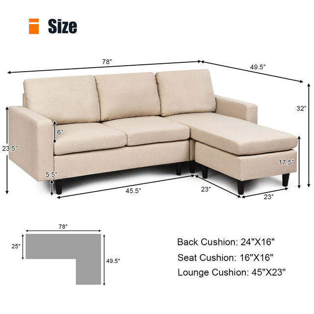 Sectional Fabric L-Shaped Couch  2