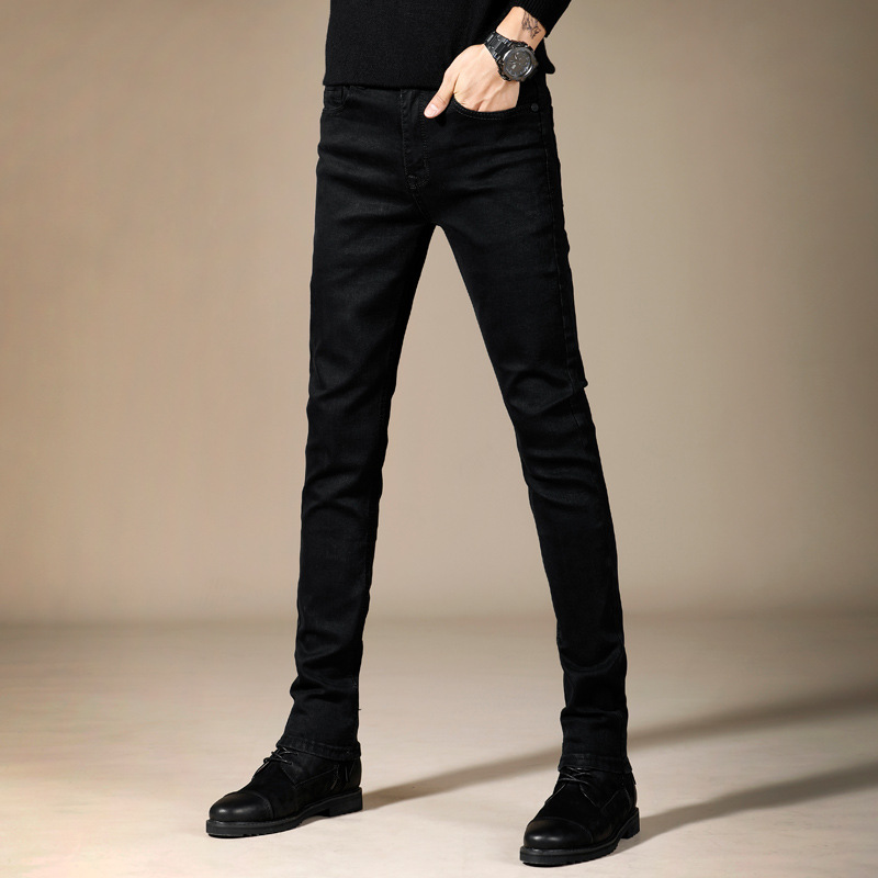 Pure Black Jeans Men Trend Korean-style Elasticity Youth Slim Fit Pants Black And White With Pattern Long Pants