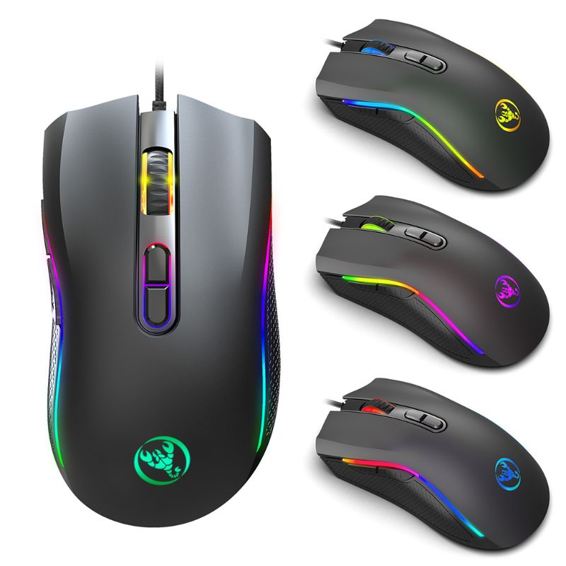 A869 7 Buttons 7 Colors LED Optical USB Wired Mouse Mechanical Gaming Mice For Gamer Office PC Laptop Computer Accessories