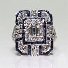 Европейский преувеличенный сапфир женский кристалл серебро кубический цирконий кольцо из эпоксидной смолы ювелирные изделия подарок ювелирные изделия кольца для женщин нежные