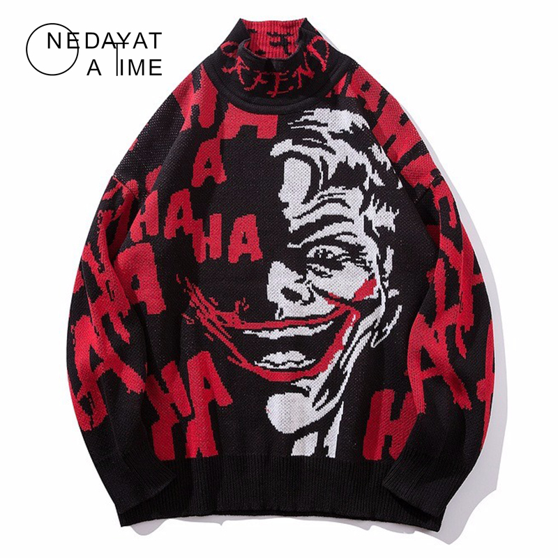 Mens Spoof Clown Skull Sweater Streetwear Pullover Clown O-neck Long Sleeve Fashion Hip Hop Men Autumn Sweaters Loose Pullover