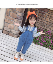 New autumn Korean style sweet solid color children bib denim pants Jumpsuit overall  for girls