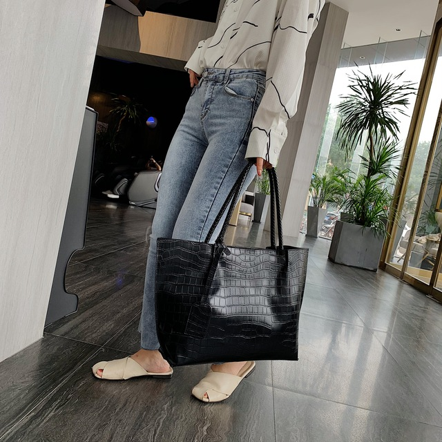 Stone Pattern PU Leather Shoulder Bags For Women