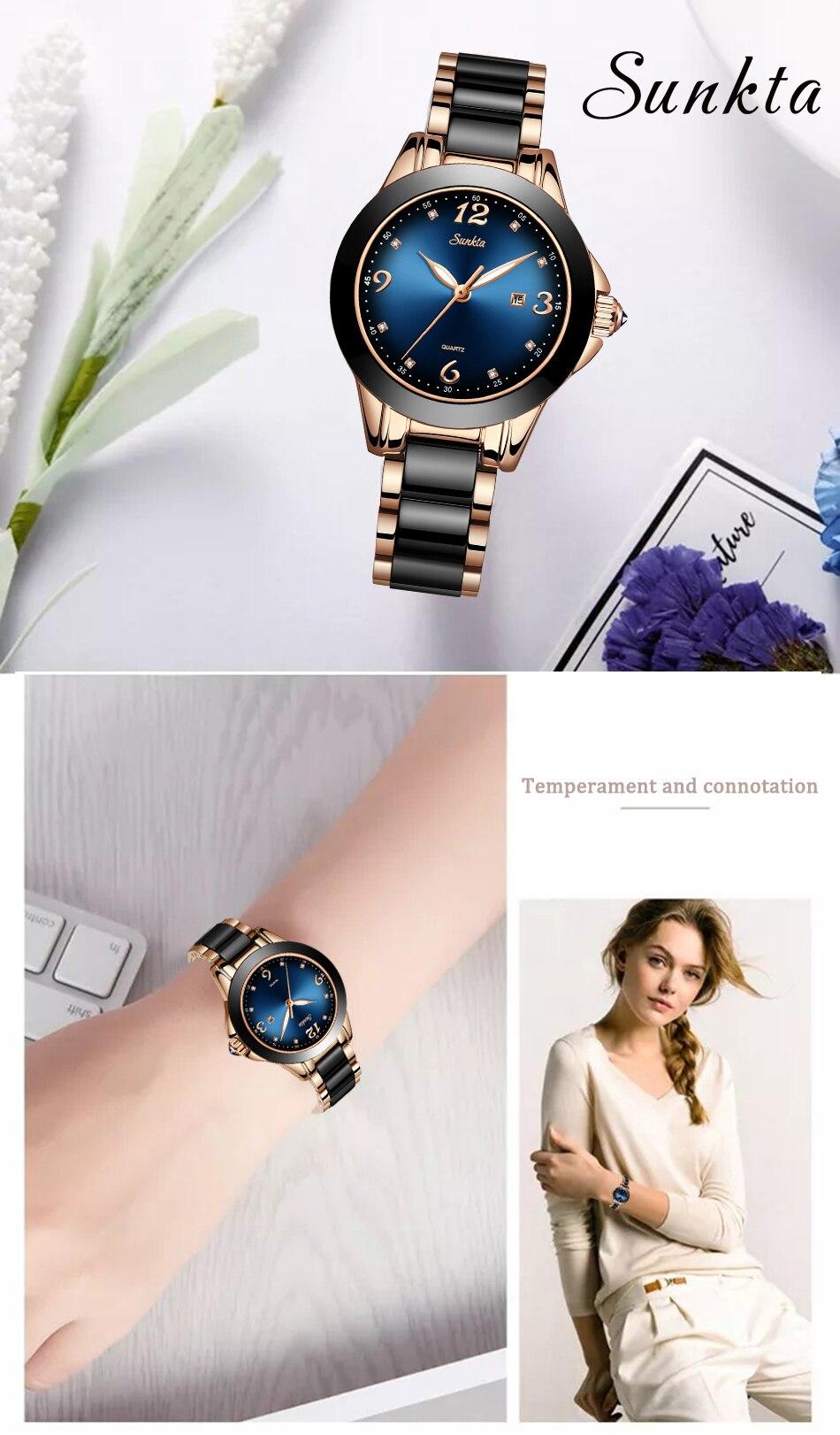 SUNKTA Azul Mulheres Moda Relógios Senhoras Relógios