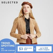 SELECTED Stand-up Collar Commuter Leather Jacket Women's Natural Outwear|420110508
