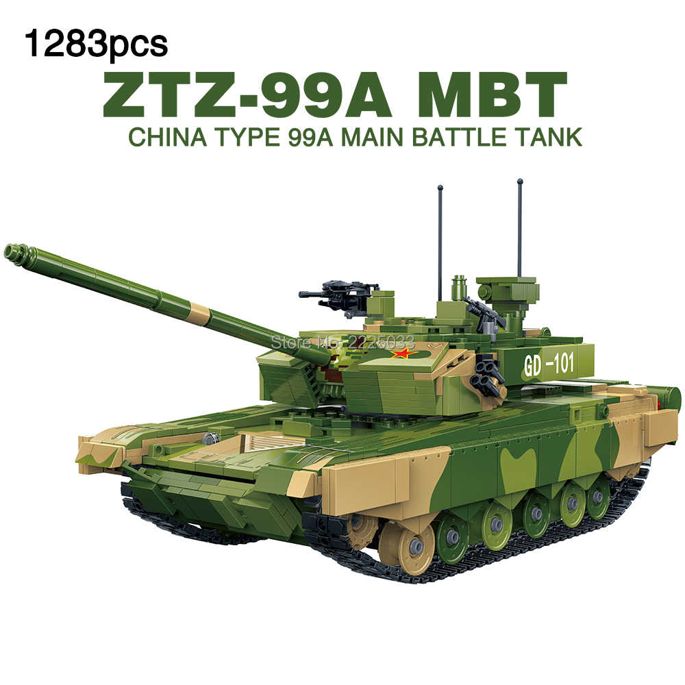 1283pcs Compatible with legoingly Military ZTZ 99A MBT Battle Tank ww2 Army Soldiers Building Blocks Toys For Children