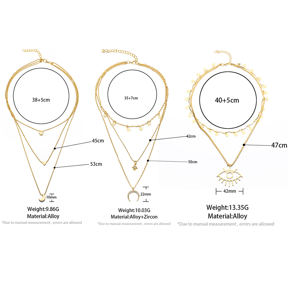 2020 Bohemian Fashion Chain Necklace For Women Vintage Multi Gold Star Moon Geometric Pendant Choker Necklace Collar Jewelry New