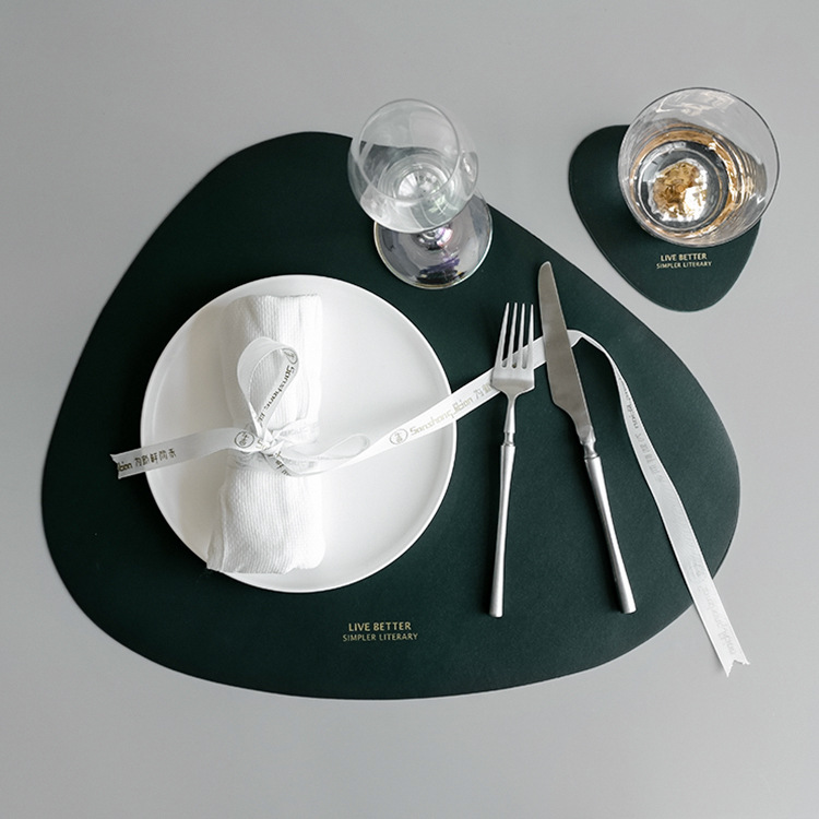Kitchen Tableware Pad PU Leather Placemat Table Mat Heat Insulation Non-Slip Placemats Bowl Coaster