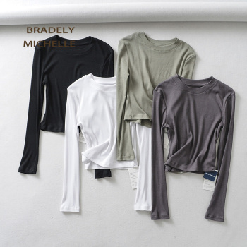BRADELY MICHELLE 2019 Summer sexy women o-neck long-sleeve T-shirt slim elastic cotton crop tops - discount item  42% OFF Tops & Tees