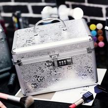 Women Professional Aluminum Makeup Case Portable Travel Jewelry Train Case Cosmetic Organizer Case