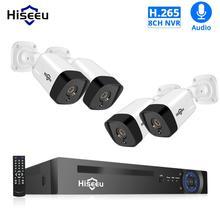 Hiseeu 8CH 1080P POE NVR System bezpieczeństwa CCTV 4 sztuk 2.0MP zapis Audio IP kamera IR P2P wideo na zewnątrz zestaw do nadzorowania dysk twardy o pojemności 1TB