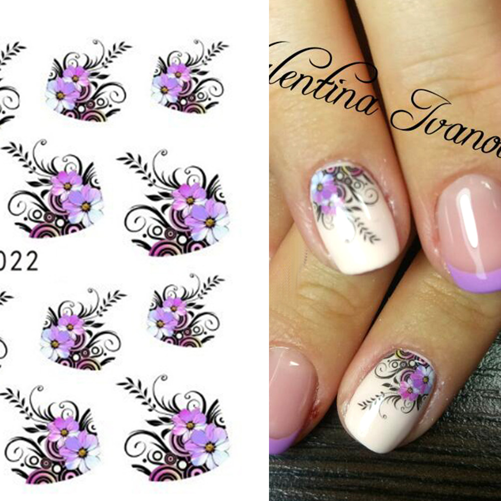 1 Sheet Beauty Purple Flower Water Transfer Nail Sticker Nail Art Decals DIY Decorations French Manicure Tip Nail Tool LASTZ022