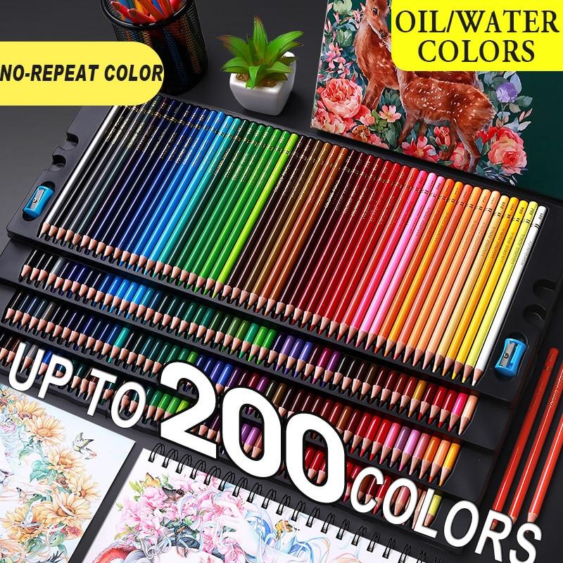 200/180/150/120/72/48/24 Цвет поверхность специальное масло для Цвет карандаши древесина мягкая вода Цвет карандаш для школы рисовать принадлежности ...
