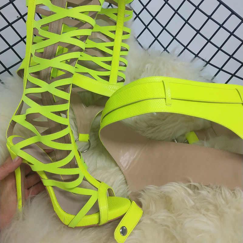 Perixir Đùi Cao Cấp Xăng Đan Gợi Cảm Các Đường Cắt Dài Võ Sĩ Giác Đấu Giày Rihanna Phong Cách Nền Tảng Giày Cao Gót Giày Người Phụ Nữ Mùa Hè 2019 giày Xăng Đan