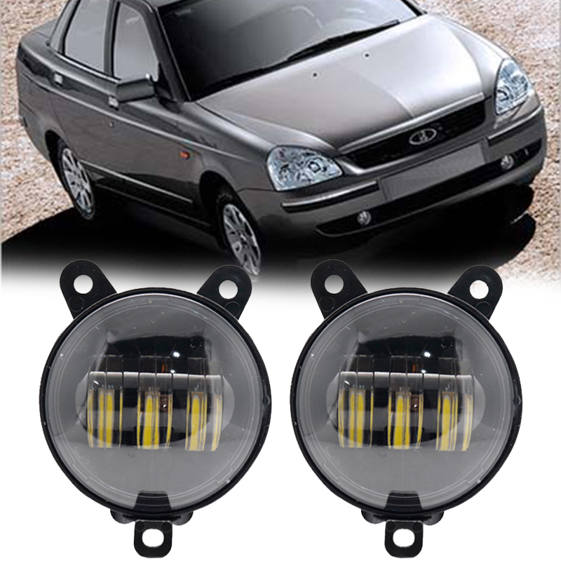 2pc 3.5''inch Fog Lamp Assembly Super Bright 30w 6000k 12v Led Fog Light For Lada Priora And Some Russia Car
