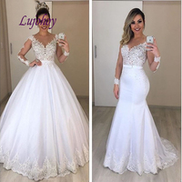 Long Sleeve Lace Wedding Dresses Plus Size Ball Gown Detachable Skirt African 2 in 1 Bridal Bride Dress Wedding Gowns
