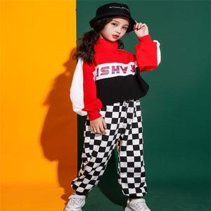Image 1 - Jongens Meisjes Jazz Dans Kostuum Straat Prestaties Set Volledige Herfst Kinderen Kleding Hip Hop Kostuums Outfit Hoodie Broek 2 Stuks