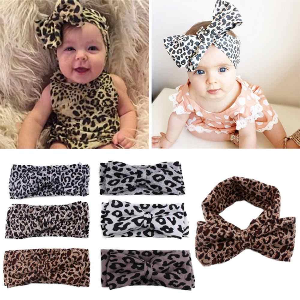 1 unid Baby Girls Leopard Print Floral Bow Knot diadema niños Bohemia impresión Floral banda elástica para el cabello
