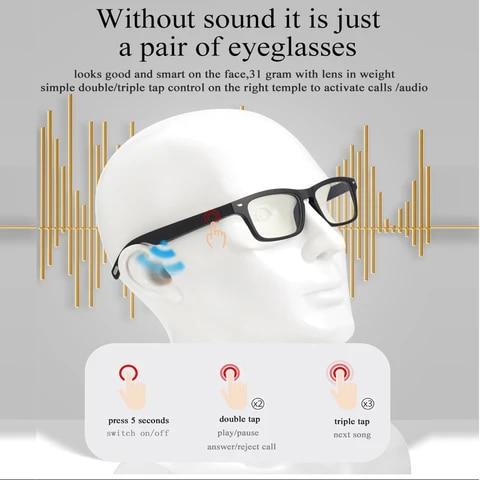 Ky Smart Wireless Headphones Bluetooth Headset Glasses Sports Anti-Blu-ray Earphones Built-in Speaker Not Bone Conduction
