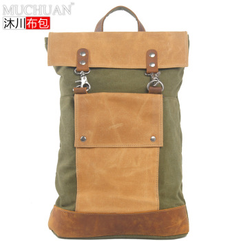 Retro Backpack Canvas with Full-Grain Leather Backpack