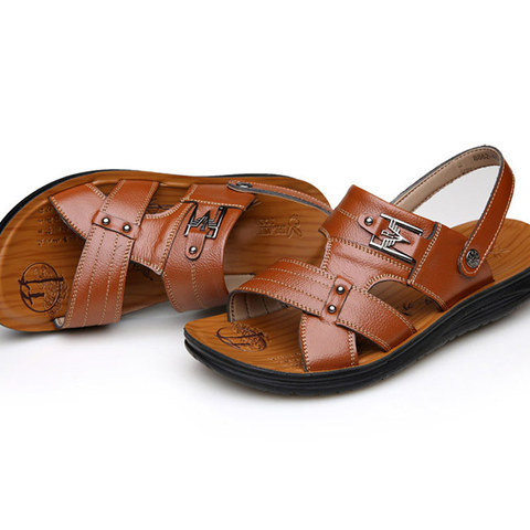 Summer casual shoes men sandals 2019 fashion solid pu leather slip-on indoor & outdoor sandals men shoes slip-on beach man shoes Multan