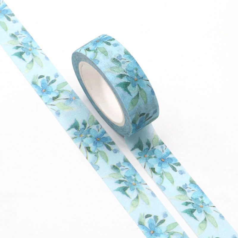1pc Blue Flowers Fantasy Flash Valentine Washi Tape Kawaii Scrapbooking Tools Masking Tape Photo Album Diy Decorative Tape