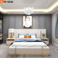 Modern Luxury Italy Design Leather Home Furniture BedRoom Leather Double King Size Bed Furniture