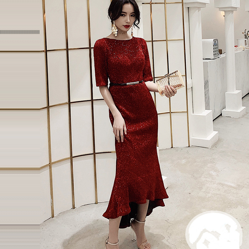 Evening Dress Half-sleeve Sequined Women Party Dresses Asymmetry Zipper Robe De Soiree 2019 O-neck Elegant Formal Gowns F226