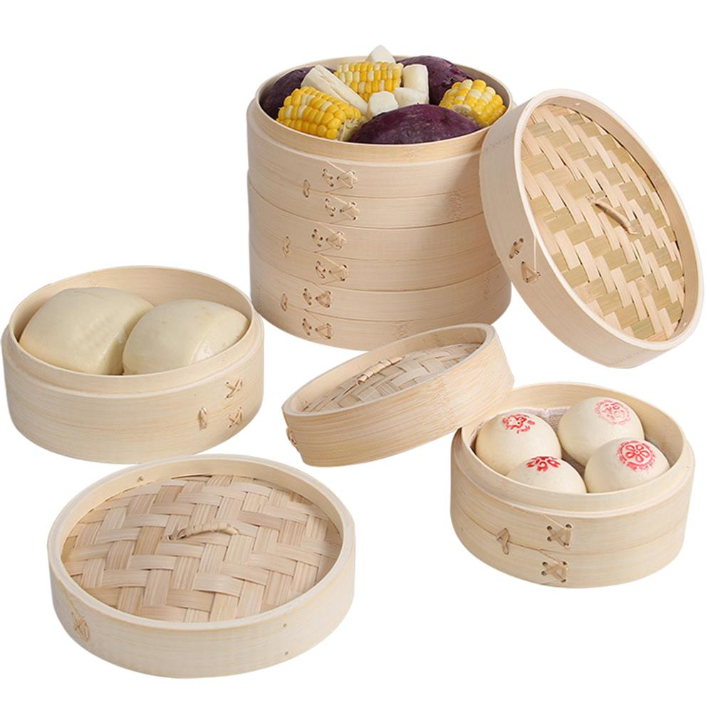 Household Bamboo Streamer Steaming Basket 2 Tiers 10 Inches Fish Rice Meat Basket Dumpling Steamer Steam Pot Kitchen Tools