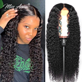 13x6 глубокая волна Синтетические волосы на кружеве парики из натуральных волос на кружевной 30 32 дюймов бразильские вьющиеся Синтетические в...