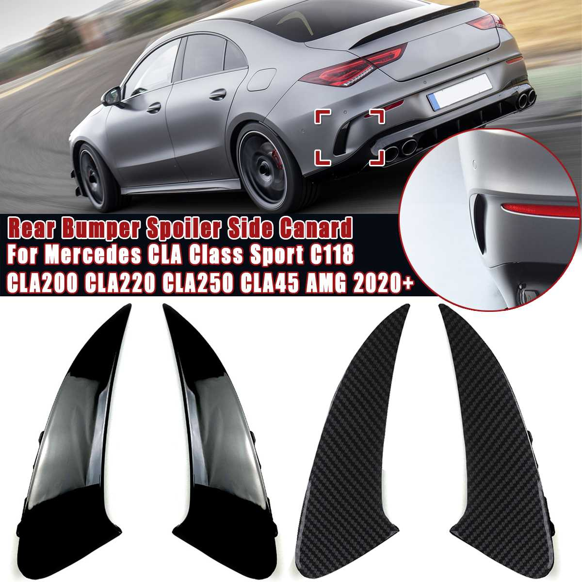 2Pcs/set Car Rear Bumper <font><b>Spoiler</b></font> Side Wing Canard For Mercedes CLA Class Sport C118 CLA200 CLA220 <font><b>CLA250</b></font> CLA45 AMG 2020+ image