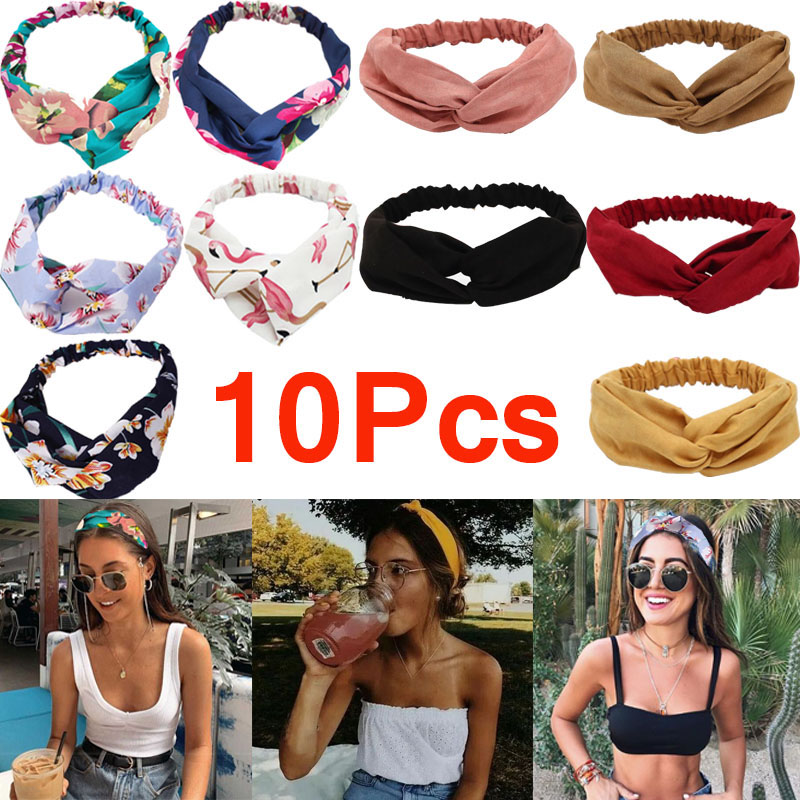 10pcs Women Fashion Vintage Headband Summer Bohemian Style Hairband
