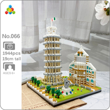 YZ 066 World Famous Architecture Leaning Tower of Pisa 3D Model DIY Mini Diamond Blocks Bricks Building Toy for Children no Box